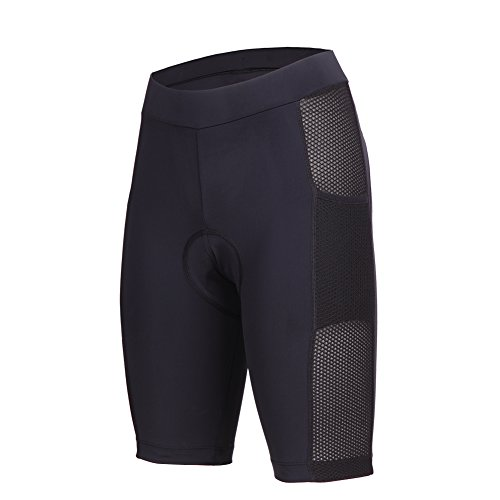 """beroy Womens 3D Gel Padded Bike Shorts With Side Pockets For 5.5"""" Mobile Phone,1.57inches High Waistband Girls Cycling Shorts (Large, Black)"""