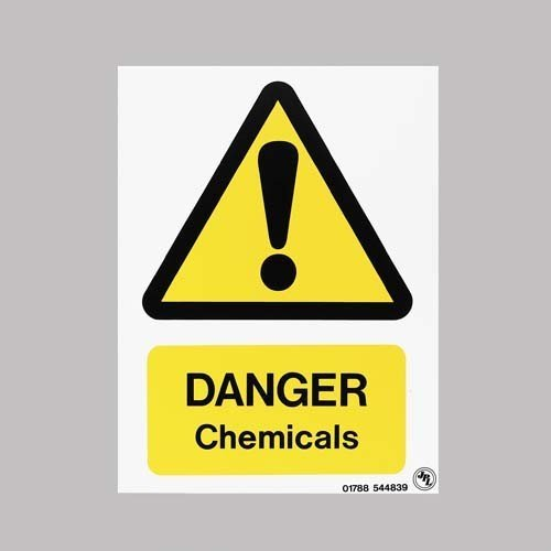 Foamex Danger Chemicals Sign Rectangular Alert Warning Swimming Pool Sign Yellow OSG