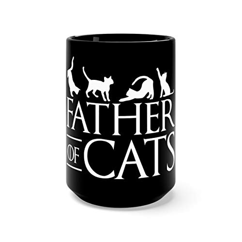 Mens Father Of Cats Funny Cat Dad Christmas For Men Cute Mug Cup Ceramic 15oz Black -