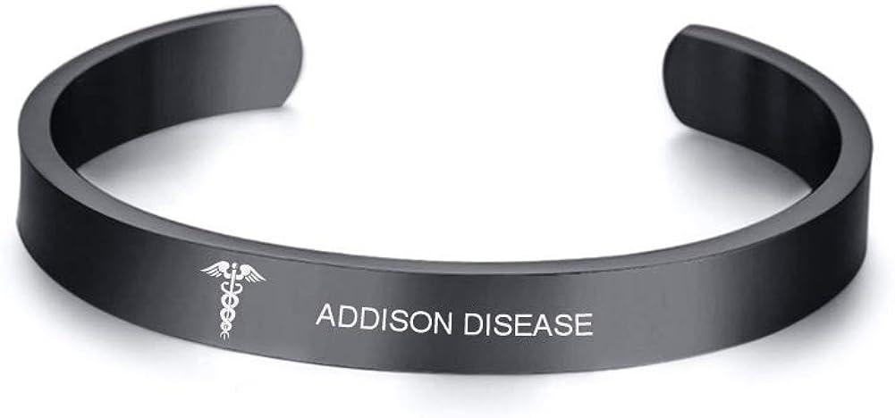 VNOX Custom Text-Minimal Black Stainless Steel Medical ID Cuff Bangle Bracelet for Unisex,8MM,4 Color