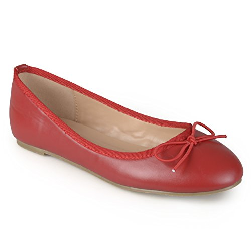 Journee Collection Mujeres Round Toe Bow Ballet Flats Rojo