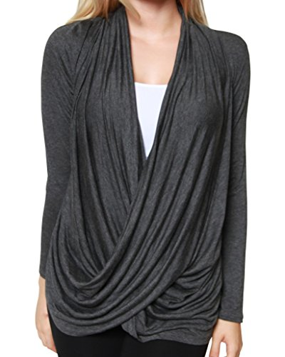 Free to Live Women's Lightweight Criss Cross Pullover Nursing Cardigan Top (Large, Charcoal)