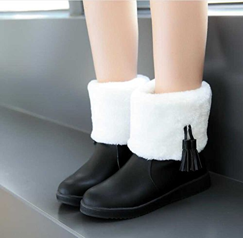 CHFSO Womens Stylish Waterproof Fringe Faux Fur Lined Pull On Low Heel Platform Ankle Winter Snow Boots Black Fb99a