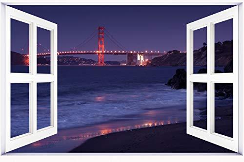 HUANYI USA Bridges Coast Night San Francisco California Golden Gate Cities 3D Window View Decal Wall Sticker Decor Art Mural