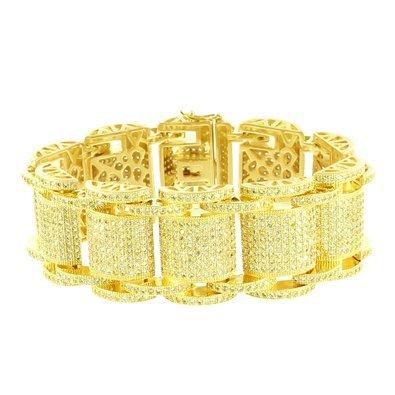 14k Gold Finish Bracelet Big Dome Link Iced Out Rapper Wear Hip Hop Lab Diamonds by Master Of Bling