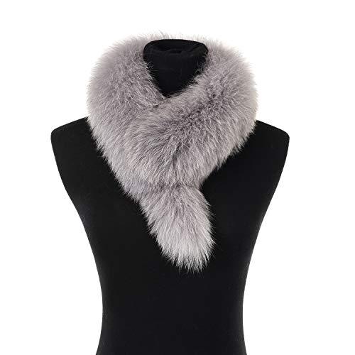 (Ferand Ladies Elegant Real Fox Fur Collar Scarf Wrap for Women, Grey)