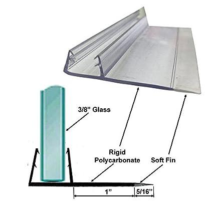Shower Door Polycarbonate U-Channel with 90 degree Vinyl Fin