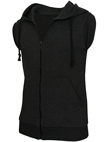 Cotton Zip Vest - BCPOLO Men's Casual Zip-Hoodie Vest Cotton Sleeveless Zip up Hoodie Vest-Charcoal M