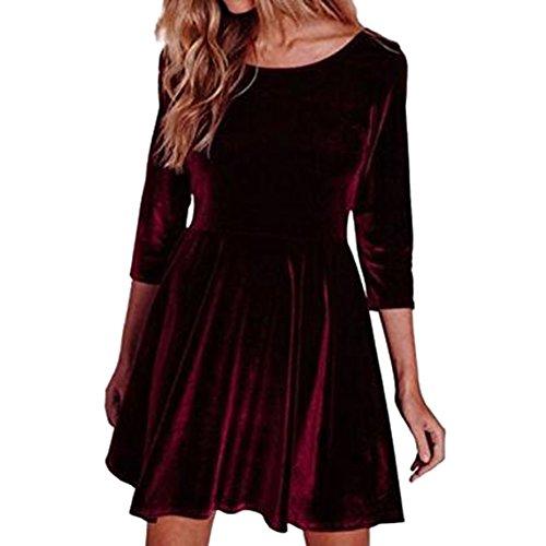 hibote Vestidos de terciopelo de las mujeres Elegantes 3/4 manga cuello redondo de terciopelo Fit Mini vestido Vino Rojo