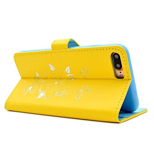 Protege tu iPhone, Para el iPhone 7 más patrón de mariposa de bronceado flip horizontal caja de cuero PU con titular y ranuras para tarjetas y cartera Para el teléfono celular de Iphone. ( Color : Ama Amarillo
