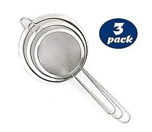 Set of 3 Food Colanders - Stainless Steel Premium Fine Mesh Strainer Sieve Set
