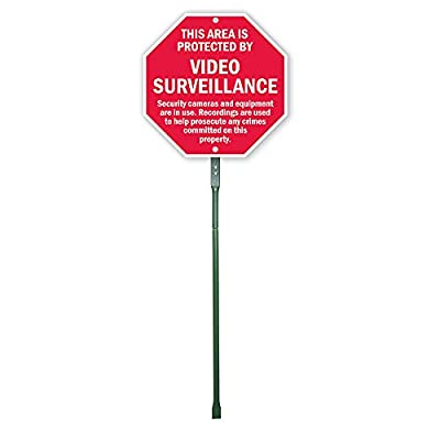 "SmartSign Aluminum Sign, Legend ""This Area is Protected by Video Surveillance"", 12"" high octagon sign plus 3' tall stake, Red on White"