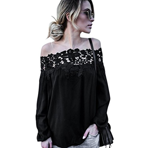 Price comparison product image New Fashion Women Summer Off Shoulder Lace Long Sleeve Blouse,  Ninasill Beautiful Tops Casual Blouse T Shirt (L)