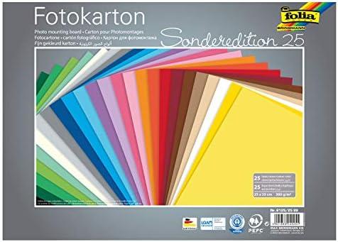 folia 6125/25 99 - Fotokarton Mix 25 x 35 cm, 300 g/qm, 25 Blatt sortiert in 25 Farben - ideale Grundlage für zahlreiche Bastelideen