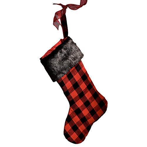 (Gift Craft Buffalo Plaid Faux Fur Cuff 21 Inch Polyester Christmas Stocking)