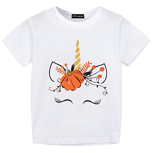 Fancyqube Kids Unicorn Pumpkin Halloween Print Short Sleeve Birthday T Shirt White -
