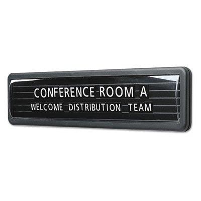 Magnetic Nameplate, Desk/Wall/Door, Black/Dark Gray Base, 13.1 x 3
