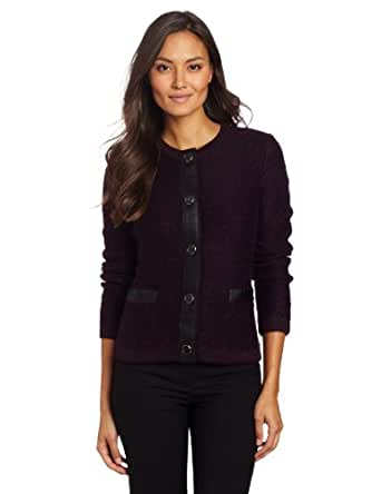 Jones New York Women's Leather Trimmed Cardigan Sweater, Eggplant Multi, Medium