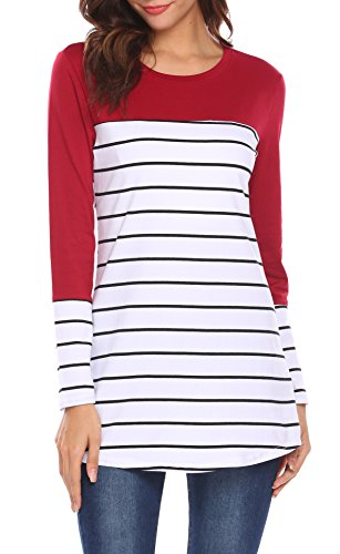 e5d048eeee9338 Women Color Block Striped Back Button Long Sleeve T-Shirt Blouse Tunic Tops  Review
