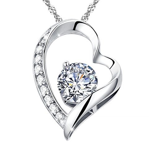 """I Love You More Than I Can Say"" Sterling Silver Heart-Shaped Pendant Necklace"