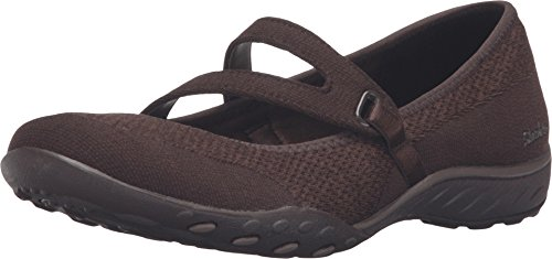 Sport Shoe Flat Brown (Skechers Sport Women's Breathe Easy Lucky Lady Mary Jane Flat,Chocolate Knit Mech/Brown Trim,6 M US)