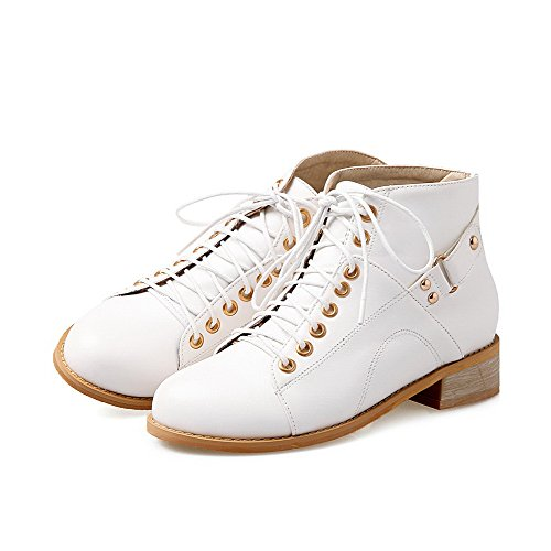 Low Toe Closed Low Soft Solid Allhqfashion Material Heels White Boots Women's Round Top aIStIqxU