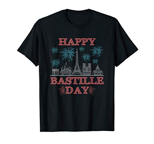 Bastille Day T-Shirt French Monuments Eiffel Tower Fireworks