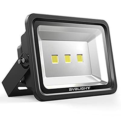 BYB 100W Super Bright Outdoor LED Flood Light, 250/400/500W HPS Bulb Equivalent, Waterproof, 9050/13575/18100lm, Daylight White, 6000K, Tempered Glass, Security Lights, Floodlight