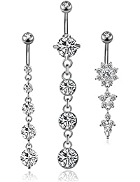 3PCS 14G 316L Stainless Steel Belly Button Rings for Women Navel Rings Barbell Dangle Flower CZ Body Piercing