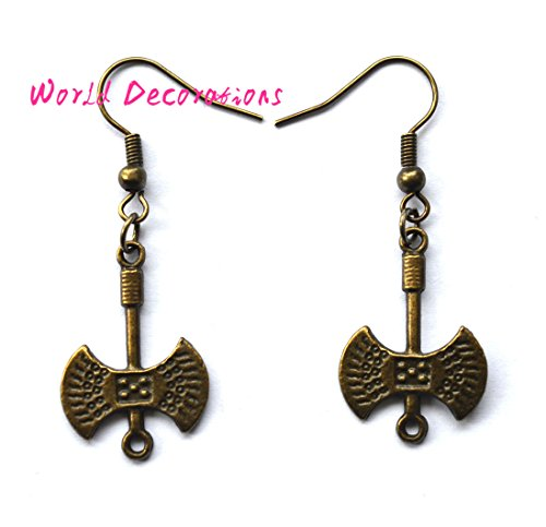 Medieval Film Costumes (Axe Charm Earrings,Bronze Ax Earrings, Axe Earrings, Antique Bronze Metal Earrings, Weapon Jewelry, Weapon Earrings)