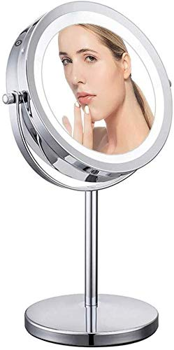 Makeup mirror- Makeup Mirror 7-10x Magnified Lighted Makeup Mirror Naked Mirror Double -