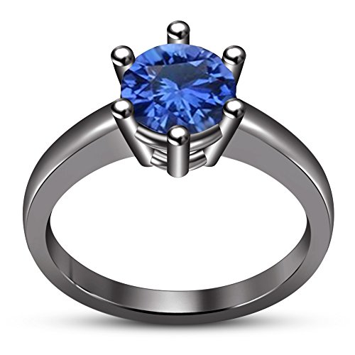 TVS-JEWELS Adorable Solitaire Ring For Women's Daliy Use Girls Blue Stone Black Rhodium Plated (5.5) by TVS-JEWELS