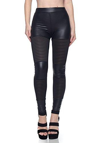 J2 LOVE Made in USA Faux Leather Mesh Panels Moto Legging, Black, ()