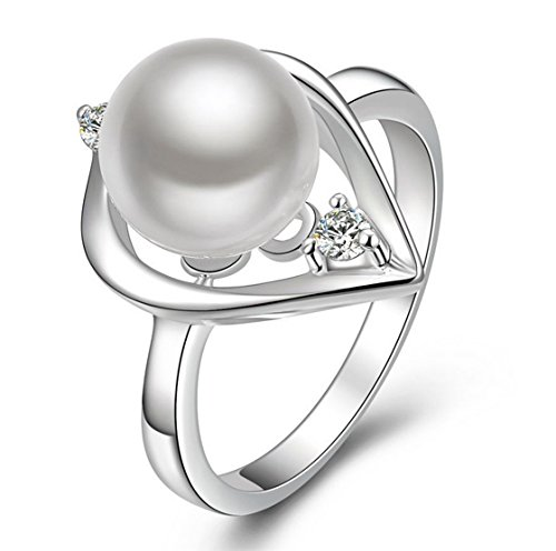 PSRINGS Silver Plated Austrian Crystal Simulated Pearls Ring Lovey Glory Triangle Simulated Pearl (Blades Of Glory Costume For Sale)