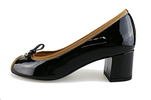 EU Woman CALPIERRE Black Leather Black courts patent brown Textile blue 35 brown qfrqzxw57
