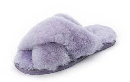 Luxehome Womens Chic House Slippers Fur Slippers WS-01 Purple JVwd9i