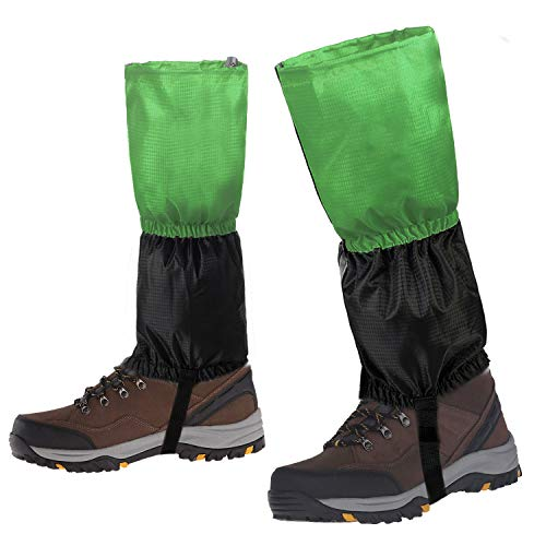 Waterproof Shoes with Breathable Fabric Hiking Gaiters for Man Woman Adjustable Boot Gaiters for Outdoor Research Climbing Fishing Hunting Trimming Grass - Green ()