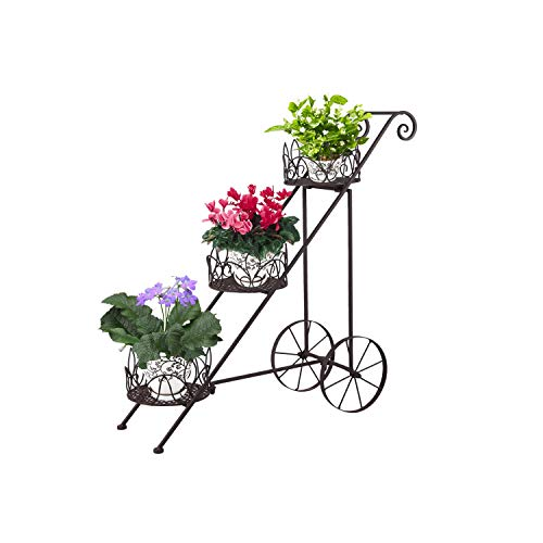 Joveco Black European Style Wrought Iron Flower Racks Multi Store Balcony Living Room Minimalist Folding Scroll and Ivy Plant Stand Patio Garden Pergolas Brushed Bronze with Wheels (3 Tiers Ladder)