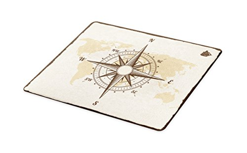 Lunarable Nautical Cutting Board, Compass on World Map with Continents Africa America Antique Adventure, Decorative Tempered Glass Cutting and Serving Board, Large Size, Beige Tan and Brown -