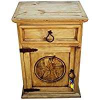 Mansion Rustic Nightstands with Star Honey Finish (Left Hinged)