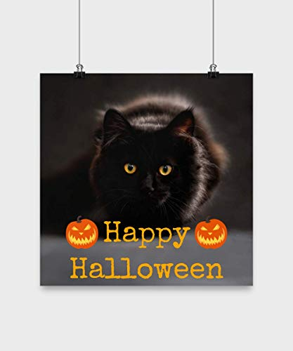 The Good News Cafe Halloween Wall Decorations Happy Halloween Poster Gift with Black Cat