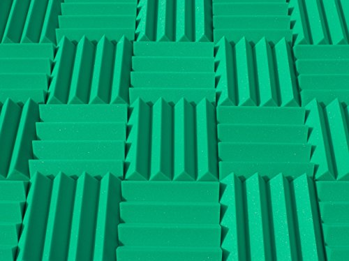 Wedge Kelly Green - Soundproofing Acoustic Studio Foam - Kelly Green Color - Wedge Style Panels 12in x 12in x 3 Inch Thick Tiles