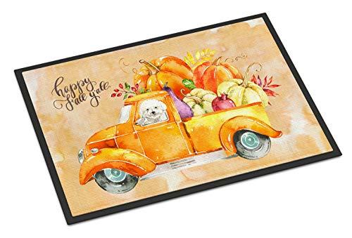 (Caroline's Treasures Fall Harvest Bichon Fris Door Mat, Multicolor)