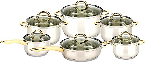 3416 Uniware 12pcs Stainless Steel Cookware Set with Ss Gold