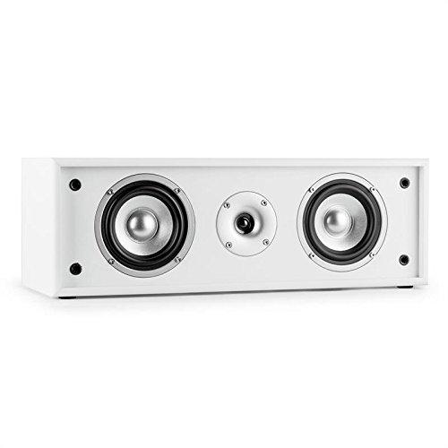 Auna Linie-300-CN-WH 2-Wege-Center-Lautsprecher aus Holz (35W RMS, Passiv, abnehmbare Lautsprecherabdeckung) weiß