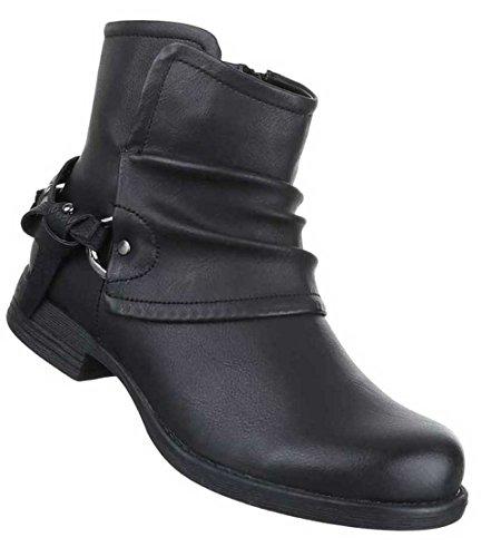 Damen Stiefeletten Schuhe Boots Schwarz Schwarz
