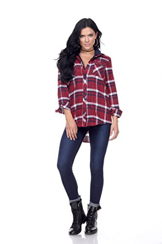 - Ci Sono Womens Long-Sleeve Plaid Flannel Button Down Shirt With Sherpa Lining (XL, Katie)
