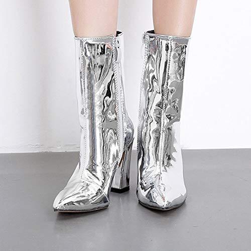 Stivaletti Boots Martin Donna Stivali Con Beautyjourney Scarpe Cuoio Argento Eleganti Stivale Tacco Pelle Zeppa Invernali vxw7g