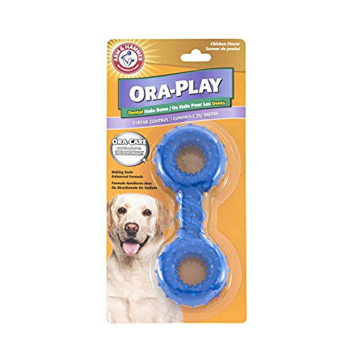 Arm & Hammer Ora-Play Halo Bone Dental Chew Toy for Dogs | Best Dog Chew Toy For the Toughest Chewer | Reduces Plaque & Tartar Buildup Without Brushing, Peanut Butter ()