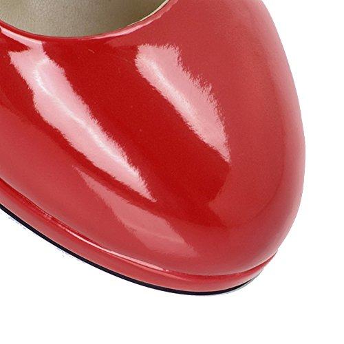 AllhqFashion Damen Rund Zehe Stiletto Mattglasbirne Rein Ziehen auf Pumps Schuhe Rot